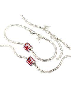 Anderson & Webb Silver Plated Union Jack Enamel Charm Necklace & Bracelet set