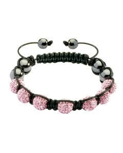 New Womens Shamballa Pink Crystal Ball Studded Bracelet On Black Macrame