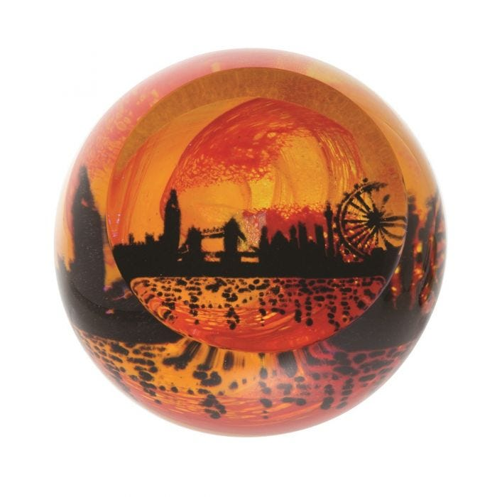 Caithness Glass Piece Crystal Umber Paperweight Umber