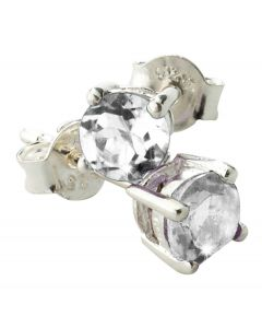 BNWT Womens Round 5mm Semi-Precious White Topaz Earrings With Silver Fittings