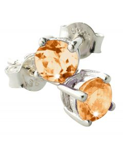 Orange Semi-Precious Round Citrine Earrings With 925 Sterling Silver Fittings