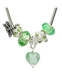"""New Green 18"""" Necklace With 6 Charms Including A Dragonfly & Crystal Drop Heart"""