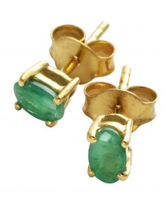 Green Emerald Oval Gold Plated Silver Stud Earrings