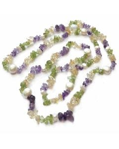 """BNWT Womens Summer Colours of Semi-Precious 32"""" Gemstone and pearl Rope Necklace"""