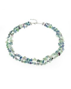 "Anderson and Webb 2 Row 18"" Aqua Tones of Blue & Green Fluorite Summer Necklace"
