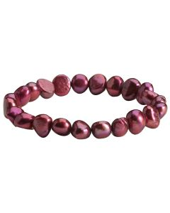 Cranberry Freshwater Cultured Pearl Bracelet On Elastic. Measures Approx. 19cm