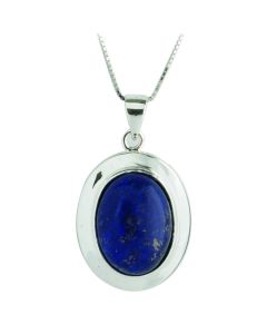 BNWT Lapis Lazuli 925 Sterling Silver Pendant Necklace With 18 inch Chain