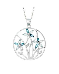 BNWB Cornflower London Blue and Swiss Blue Topaz Pendant Necklace in 925 Sterling Silver