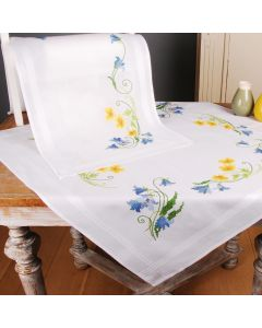 BNWT Cross Stitch Embroidery Tablecloth & Runner Bluebells & Buttercups Kit