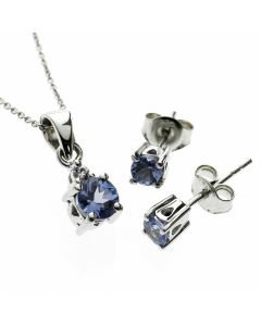 Blue AA Grade Tanzanite Suite 925 Sterling Silver Necklace & Earrings Set