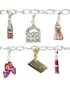 New Shopaholic Silver-Plated T-Bar 19cm Bracelet with 6 Charms And A T-Bar Clasp