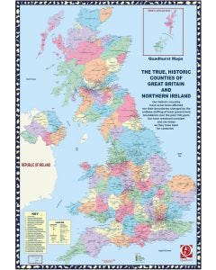 The True, Historic Counties of Great Britain and Northern Ireland Plain Wall Map