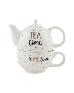 Metallic Monochrome Tea Time Teapot For One