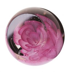 Caithness Glass - Pink Rose Floral Charms Paperweight