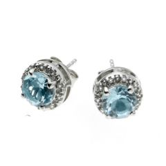 BNWT Womans Anderson and Webb Diamond and Blue Topaz Earrings