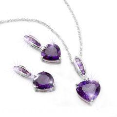 Womens Purple Amethyst & Diamond Heart Sterling Silver Necklace & Earrings Set
