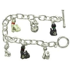 BNWT Womens Silver Plated Cat Charm  Bracelet with T-Bar Clasp