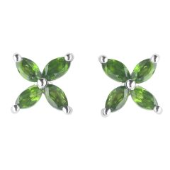 BNWT Womens Green Floral Diopside Silver Stud Earrings With Butterfly Backs