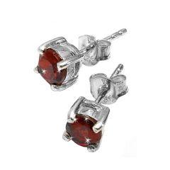 Brand New Womens Garnet Stud 5 - 6mm Earrings Set In Solid 925 Sterling Silver