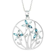 BNWB Cornflower London Blue and Swiss Blue Topaz Pendant Necklace in 925 Sterling Silver