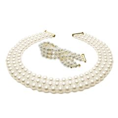 Three Strand White Round Pearl Necklace 45cm And White Pearl Bracelet Set
