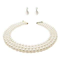 Three Strand Round White Pearl Necklace 45cm And White Drop Pearl Earrings Set
