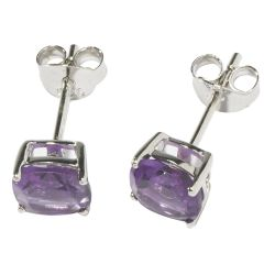 Womens Purple Amethyst Square Cut Earrings With Silver Fittings