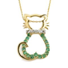 3/4 Carat Of Green Emerald Cat Pendant With Gold-Plated 925 Sterling Silver