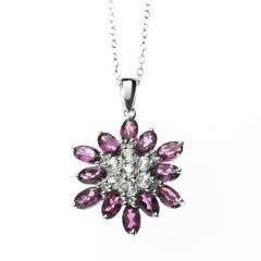 Pink Flower/Snowflake 12mm Shaped Rhodolite Pendant Set in 925 Sterling Silver