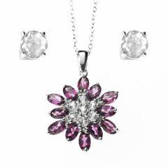 Pink Flower/Snowflake Shaped Rhodolite Pendant & Earrings Set in 925 Silver