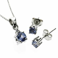 Blue AA Grade Tanzanite Suite 925 Sterling Silver Necklace & Earrings Set