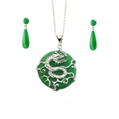 Jade Dragon Pendant Necklace & Jade Drop Earrings with A Sterling Silver Dragon Design