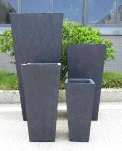 Light Concrete Tall Tapered Planter