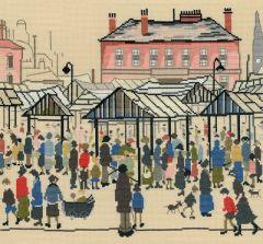 LS Lowry Style: Market Scene