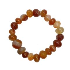 Red Agate Elasticated Round Bead Bracelet