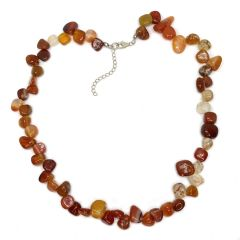 Red Agate 18 Inch Pear Bead Necklace With Extender Chain