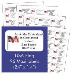 USA Flag Address Labels