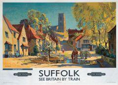 Railway Poster Jigsaw - Village Scene of Kersey, Suffolk