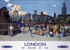 Railway Poster Jigsaw - Feeding the Pigeons, Trafalgar Square, London