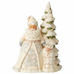Secrets Of The Snowfall (White Woodland Santa in with Tree Figurine)