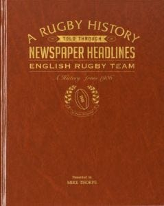 Personalised England Rugby Newspaper Book