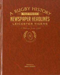 Personalised Leicester Tigers Rugby Newspaper Book