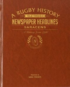 Personalised Saracens Rugby Newspaper Book